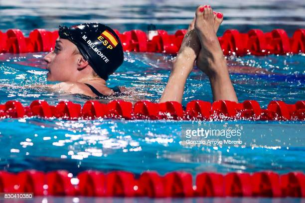 Mireia Belmonte from Spain leaves the water after winning the Women's 200m Butterfly Final during the the FINA/airweave Swimming World Cup Eindhoven...