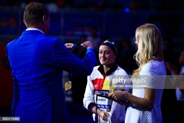 Mireia Belmonte from Spain receives the golden medal of the Women's 200m Butterfly during the award ceremony of the the FINA/airweave Swimming World...