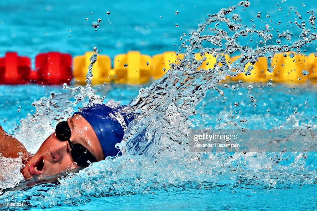 <a gi-track='captionPersonalityLinkClicked' href=/galleries/search?phrase=Mireia+Belmonte&family=editorial&specificpeople=5120453 ng-click='$event.stopPropagation()'>Mireia Belmonte</a> Garcia competes during the Swimming Women's 1500m Freestyle heat three on day ten of the 15th FINA World Championships at Palau Sant Jordi on July 29, 2013 in Barcelona, Spain.