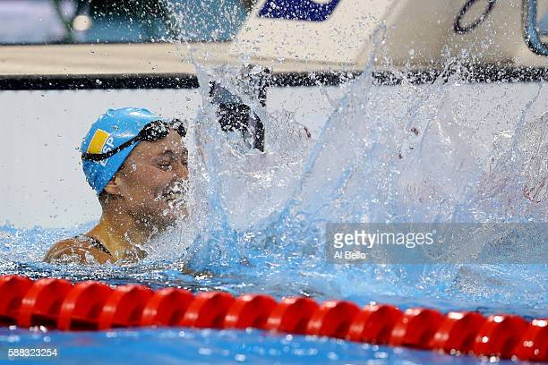 Mireia Belmonte Garcia of Spain celebrates winning gold in the Women's 200m Butterfly Final on Day 5 of the Rio 2016 Olympic Games at the Olympic...
