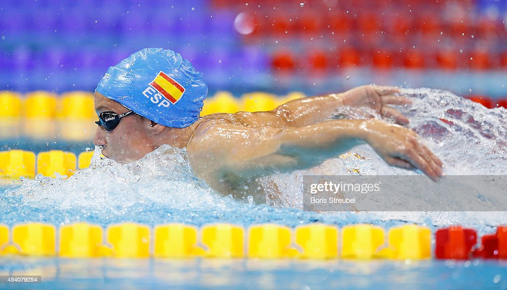 Mireia Belmonte Garcia of Spain competes in the women's 200m butterfly final during day 12 of the 32nd LEN European Swimming Championships 2014 at...