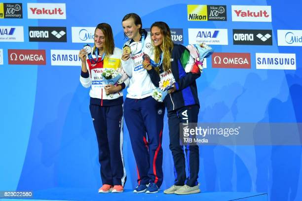 Mireia Belmonte Katie Ledecky and Simona Quadarella during the Budapest 2017 FINA World Championships on July 25 2017 in Budapest Hungary