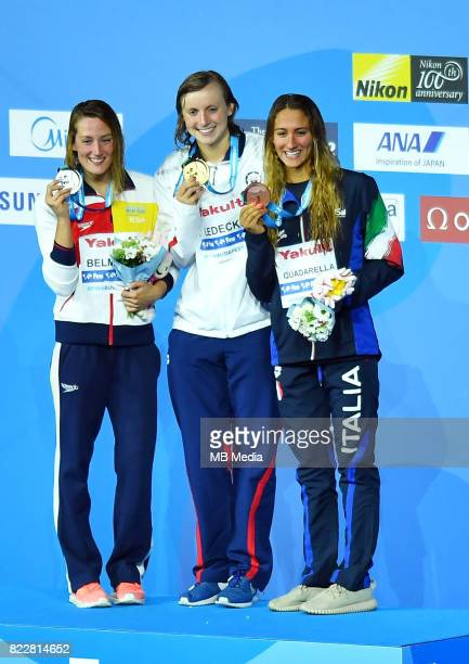 Mireia Belmonte Katie Ledecky Simona Quadarella during the Budapest 2017 FINA World Championships on July 25 2017 in Budapest Hungary