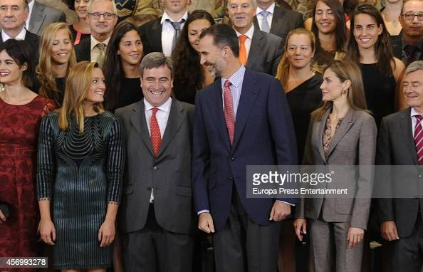 Mireia Belmonte King Felipe VI of Spain and Queen Letizia of Spain receive to Waterpolo and Swimming Female Teams on October 10 2014 in Madrid Spain