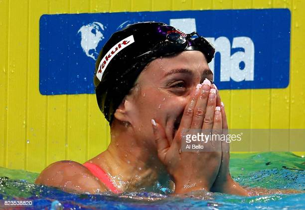 Mireia Belmonte of Spain celebrates after winning the gold medal during the Women's 200m Butterfly final on day fourteen of the Budapest 2017 FINA...