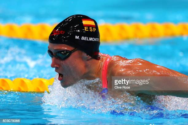 Mireia Belmonte of Spain competes during the Women's 200m Butterfly semi final on day thirteen of the Budapest 2017 FINA World Championships on July...