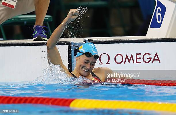 Mireia Garcia Belmonte of Spain celebrates winning the Women's 200m Butterfly on Day 5 of the Rio 2016 Olympic Games at the Olympic Aquatics Stadium...