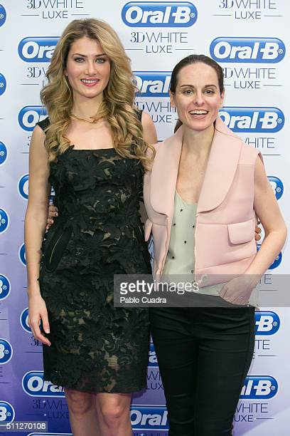 Mireia Lalaguna and Ana Locking attend an Oral B photocall during the MercedesBenz Madrid Fashion Week Autumn/Winter 2016/2017 at Ifema on February...