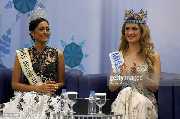 Mireia Lalaguna and Maria Harfanti Miss Indonesia 2015 during press conference in Jakarta Lalaguna comes to Indonesia as special guest who will...