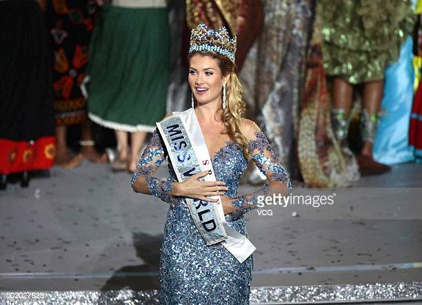 Mireia Lalaguna Royo of Spain celebrates after winning the new title during the Miss World Grand Final on December 19 2015 in Sanya Hainan Province...