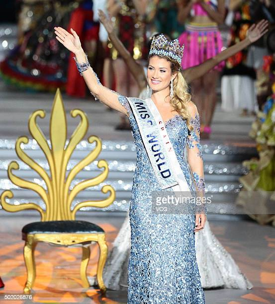 Mireia Lalaguna Royo of Spain waves after winning the new title during the Miss World Grand Final on December 19 2015 in Sanya Hainan Province of...