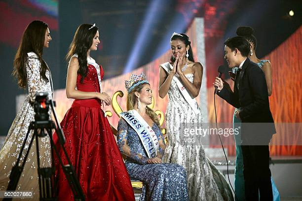 Mireia Lalaguna Rozo of Spain wins the new title of the Miss World next to Sofia Nikitchuk of Russia winning the 2nd place and Maria Harfanti of...