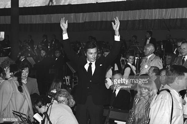 Mireille Darc Alain Delon and Louis de Funes during a meeting of Valery Giscard d'Estaing candidate at the presidential elections of 1981 Paris May...