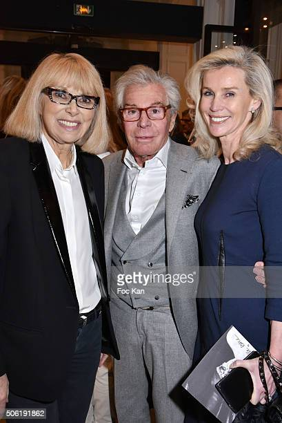 Mireille Darc JeanDaniel LorieuxÊand Laura Restelli Brizard attend the Mireille Darc Photo Exhibition Preview at Artcurial on January 21 2016 in...