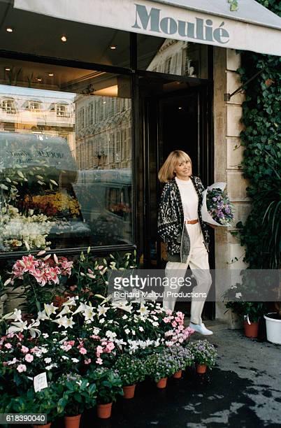 Mireille Darc Leaving Flower Shop