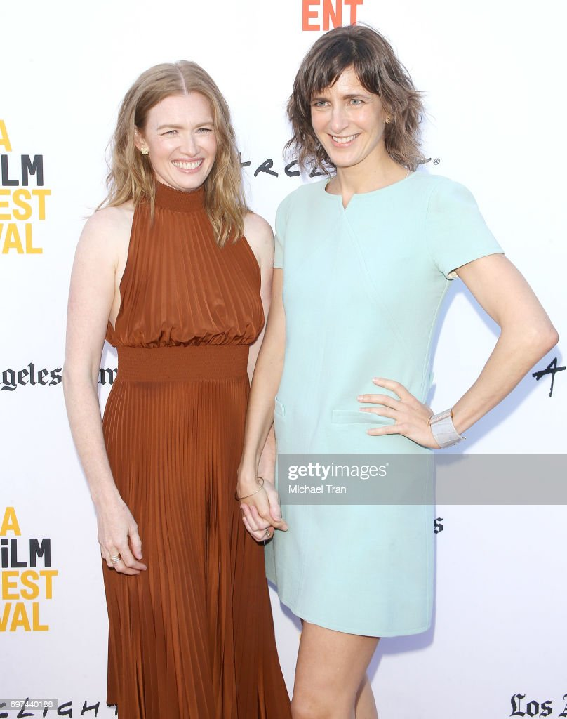 Mireille Enos (L) and Camille Thoman attend the 2017 Los Angeles Film Festival - premiere of 'Never Here' held at Arclight Cinemas Culver City on June 18, 2017 in Culver City, California.