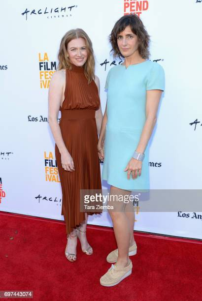 Mireille Enos and Camille Thoman attend the premieres of 'Never Here' and 'Laps' during 2017 Los Angeles Film Festival at Arclight Cinemas Culver...