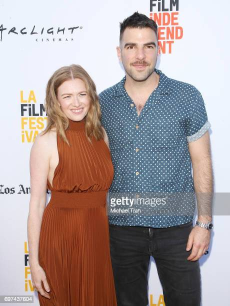 Mireille Enos and Zachary Quinto attend the 2017 Los Angeles Film Festival premiere of 'Never Here' held at Arclight Cinemas Culver City on June 18...
