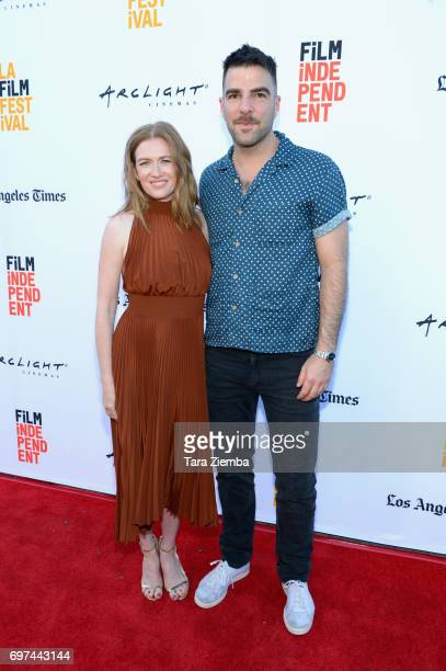 Mireille Enos and Zachary Quinto attend the premieres of 'Never Here' and 'Laps' during 2017 Los Angeles Film Festival at Arclight Cinemas Culver...