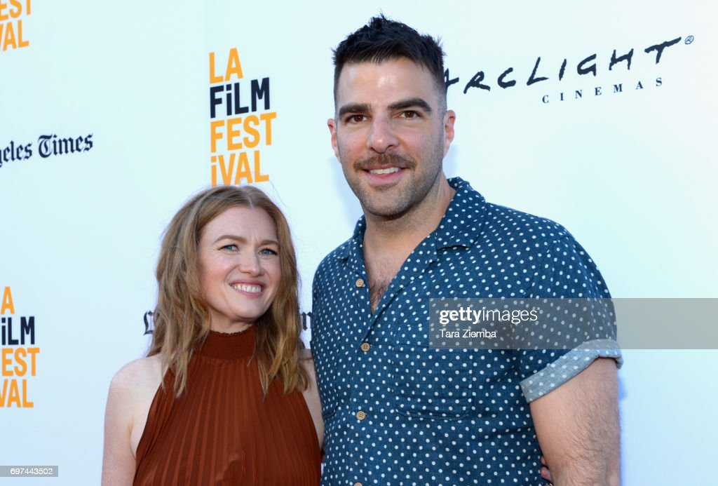 Mireille Enos and Zachary Quinto attend the premieres of 'Never Here' and 'Laps' during 2017 Los Angeles Film Festival at Arclight Cinemas Culver City on June 18, 2017 in Culver City, California.