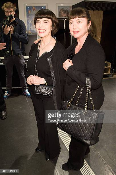 Mireille Mathieu and her sister Stephane Rolland attend the 'Das grosse Fest der Besten' tv show at Velodrom on January 10 2015 in Berlin Germany