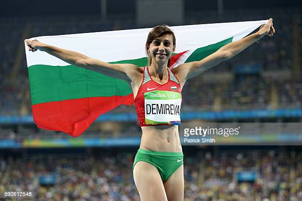 Mirela Demireva of Bulgaria reacts after winning silver in the Women's High Jump Final on Day 15 of the Rio 2016 Olympic Games at the Olympic Stadium...