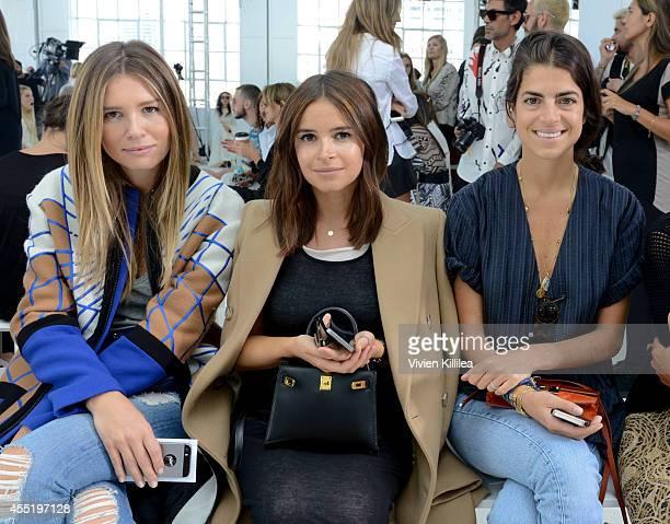 Mirela Foric writer Miroslava Duma and fashion blogger Leandra Medine attend the Delpozo fashion show during MercedesBenz Fashion Week Spring 2015 at...