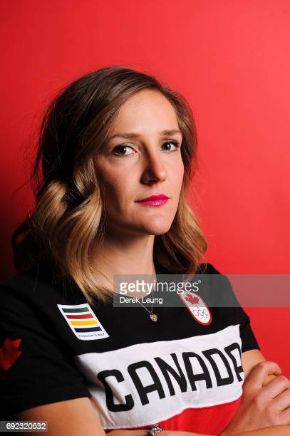 Mirela Rahneva poses for a portrait during the Canadian Olympic Committee Portrait Shoot on June 4 2017 in Calgary Alberta Canada