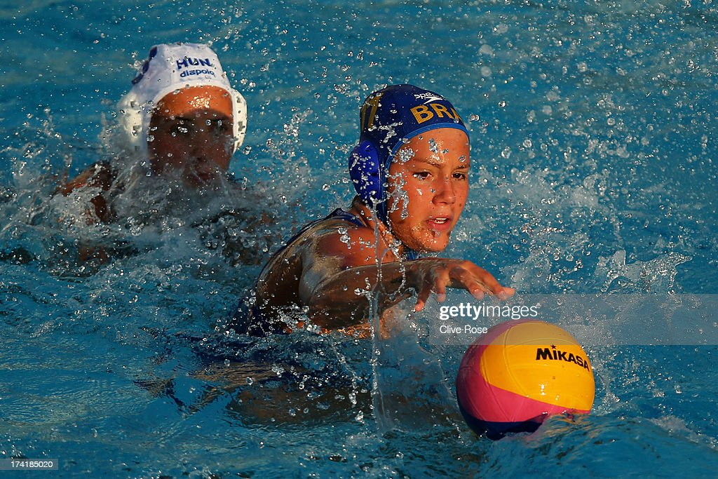 Mirella Coutinho of Brazil in action during the Women's Water Polo first preliminary round match between Hungary and Brazil during Day Two of the 15th FINA World Championships at Piscines Bernat Picornell on July 21, 2013 in Barcelona, Spain.
