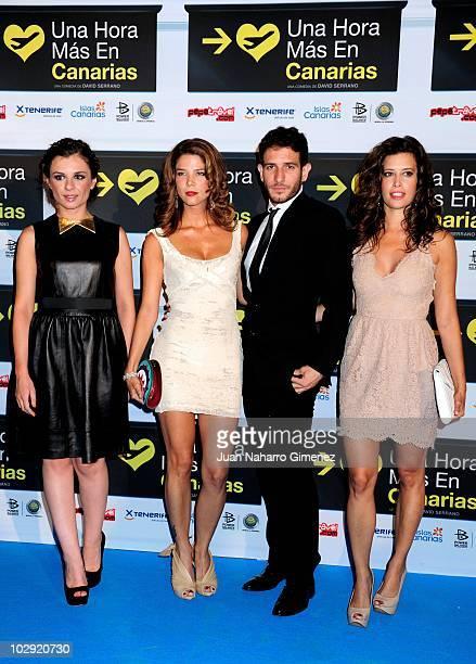 Miren Ibarguren Juana Acosta Quim Gutierrez and Angie Cepeda attend 'Una hora mas en Canarias' premiere at La Bombilla Cinema on July 15 2010 in...