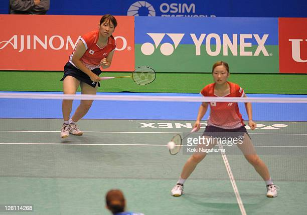 Miri Ichimaru and Shiho Tanaka of Japan compete in the Women's Doubles second round match against Hye Won Eom and Ye Na Jang of Korea during day two...