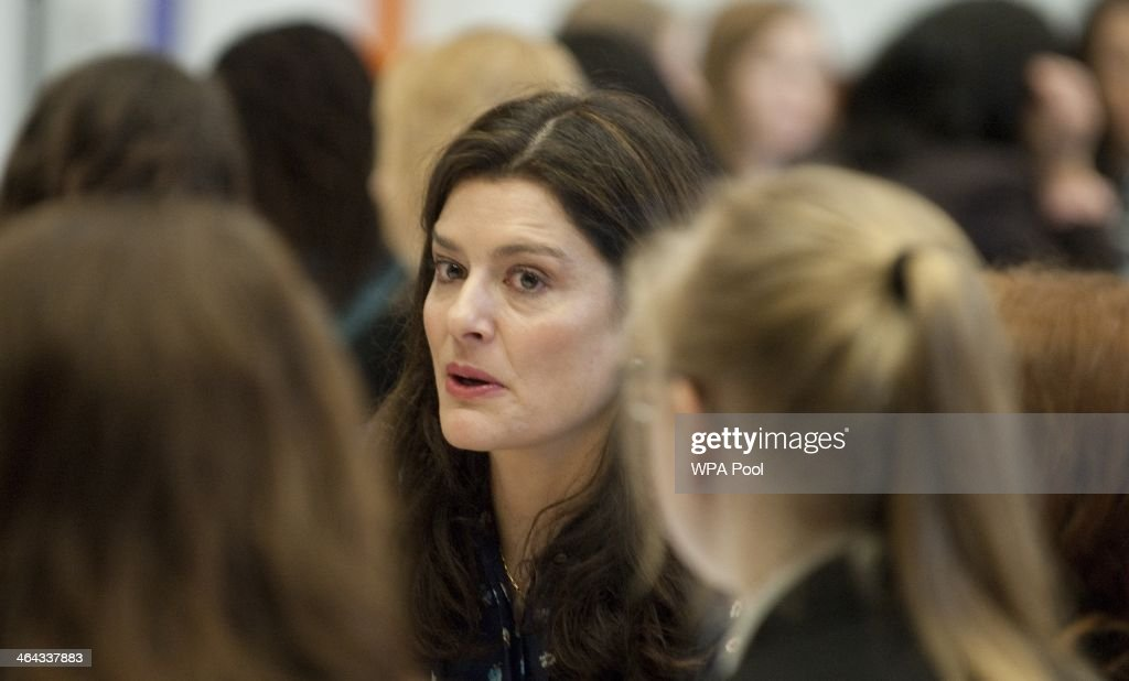 Miriam Clegg wife of Deputy British Prime Minister Nick Clegg talks to sixth formers at a Career Speed Networking and Careers fair at Basildon Upper...