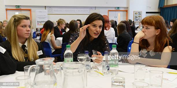 Miriam Clegg wife of Deputy British Prime Minister Nick Clegg talks to sixth formers Kallie Hall and Natalie Goldstone at a Career Speed Networking...