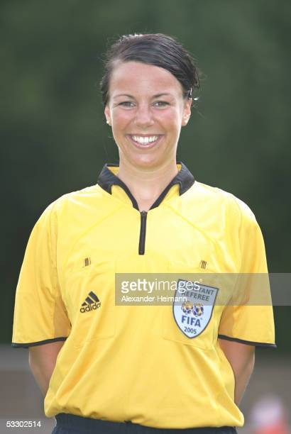 Miriam Draeger poses during the German Football Federation referee seminar on July 29 2005 in Neu Isenburg near Frankfurt Germany