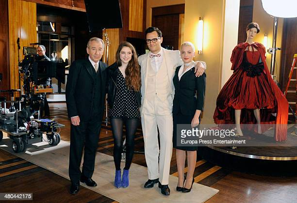 Miriam Giovanelli Asier Etxeandia Birdy and Jose Sacristan attend 'Velvet' filming on March 24 2014 in Madrid Spain The British singer sings 'Wings'...