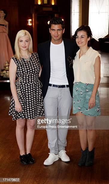 Miriam Giovanelli Maxi Iglesias and Sara Rivero are seen on set filming 'Galerias Velvet' on June 24 2013 in Madrid Spain