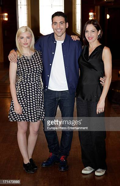 Miriam Giovanelli Miguel Angel Silvestre and Natalia Millan are seen on set filming 'Galerias Velvet' on June 24 2013 in Madrid Spain