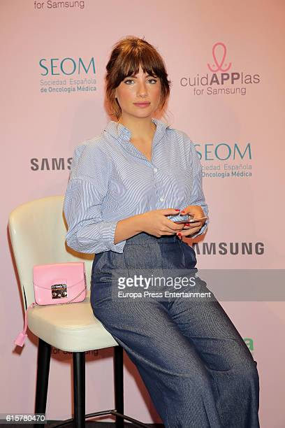 Miriam Giovanelli presents the charity app CuidAPPlas by Samsung and the Spanish Breast Cancer Frederation on October 19 2016 in Madrid Spain