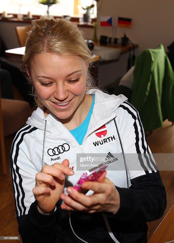 Miriam Goessner attends the german media day at Lisensky Dvur Hotel on February 11, 2013 in Nove Mesto na Morave, Czech Republic.