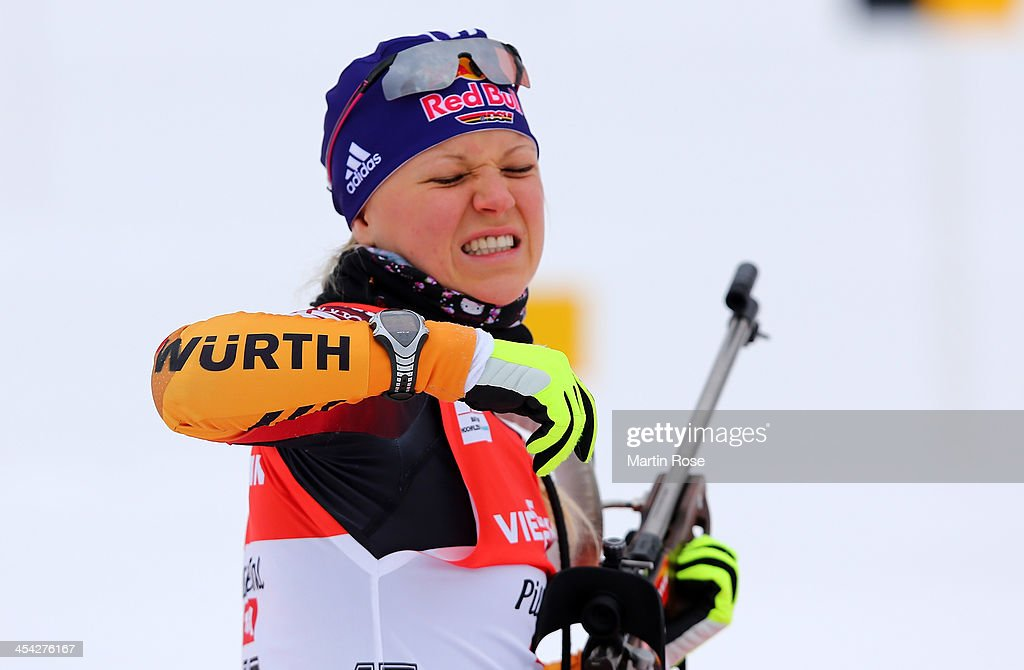 Miriam Goessner of Germany at the zeoring for the women's 10km pursuit event during the IBU Biathlon World Cup on December 8, 2013 in Hochfilzen, Austria.