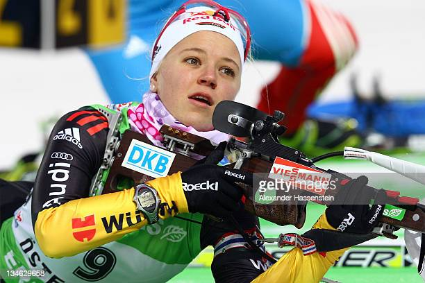 Miriam Goessner of Germany at the zeoring for the women's 75 km sprint race during the EON IBU World Cup Biathlon at the Ostersund Ski Stadium on...
