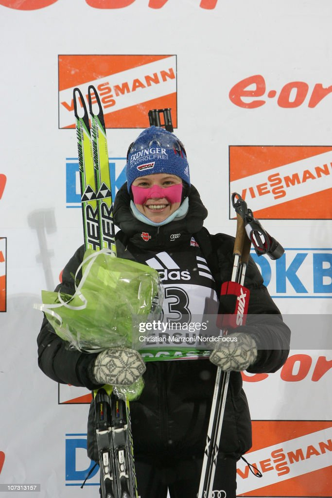 Miriam Goessner of Germany celebrates her second place in the women's sprint during the IBU Biathlon World Cup on December 03, 2010 in Ostersund, Sweden.