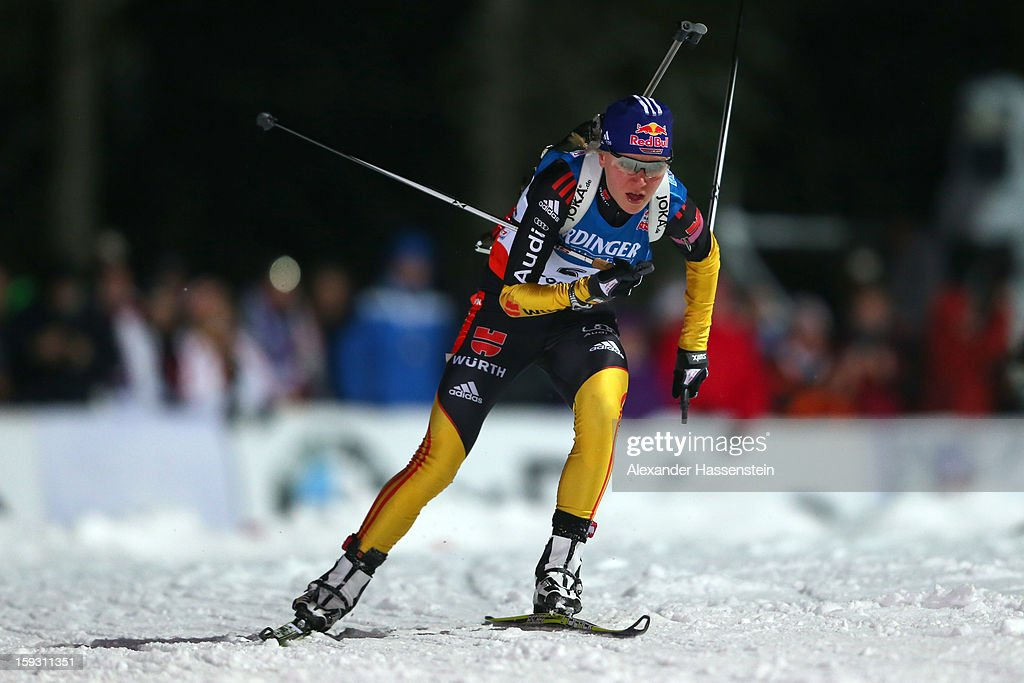 Miriam Goessner of Germany competes in the women's 7,5km sprint event during the IBU Biathlon World Cup at Chiemgau Arena on January 11, 2013 in Ruhpolding, Germany.