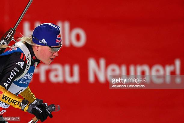 Miriam Goessner of Germany competes in the women's 75km sprint event during the IBU Biathlon World Cup at Chiemgau Arena on January 11 2013 in...