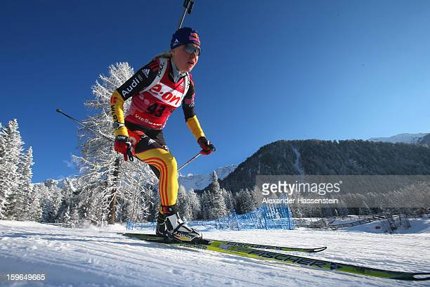 Miriam Goessner of Germany competes in the women's 75km sprint event during the IBU Biathlon World Cup at Suedtirol Arena on January 17 2013 in...