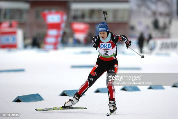 Miriam Goessner of Germany competes in the women's pursuit during the IBU Biathlon World Cup on December 5 2010 in Ostersund Sweden