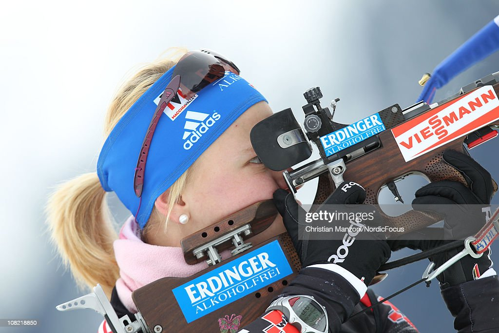Miriam Goessner of Germany competes in the women's sprint during the E.ON IBU Biathlon World Cup on January 21, 2011 in Antholz-Anterselva, Italy.