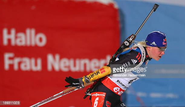 Miriam Goessner of Germany in the women's 75km sprint event during the IBU Biathlon World Cup at Chiemgau Arena on January 11 2013 in Ruhpolding...