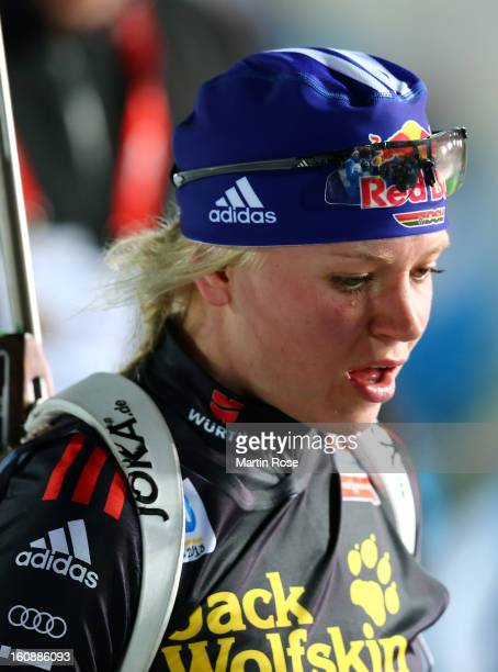 Miriam Goessner of Germany looks dejected after the IBU Biathlon World Championships Mixed Relay at Vysocina Arena on February 7 2013 in Nove Mesto...