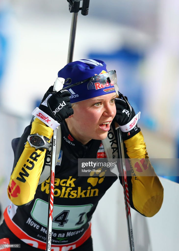 Miriam Goessner of Germany looks dejected after the IBU Biathlon World Championships Mixed Relay at Vysocina Arena on February 7, 2013 in Nove Mesto Na Morave, Czech Republic.